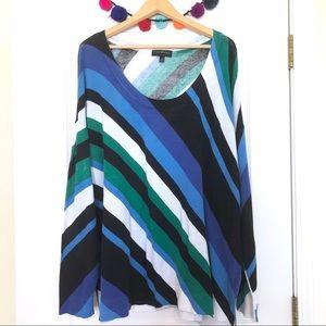 Lane Bryant Diagonal Stripe Blue Green Sweater